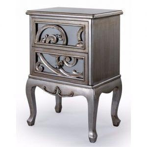 Rococo Silver Mirrored Cabinet