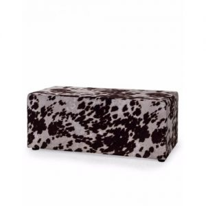 Cow Hide Print Footstool/Brown