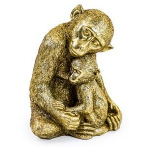 Monkey Figure With Baby/Gold