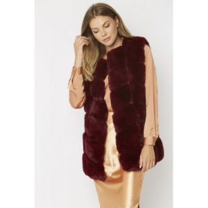 Faux Fur Long Gilet/Dark Red