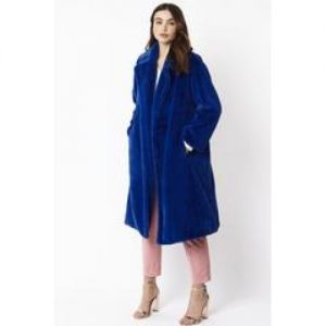 Faux Fur Coat/Royal Blue