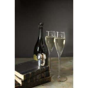 Crystal Champagne Flutes And Cork Keeper