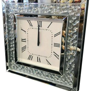 Mirrored crystal wall clock