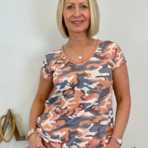 Camouflage T-shirt/Coral