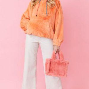 Faux fur hoodie/Peach