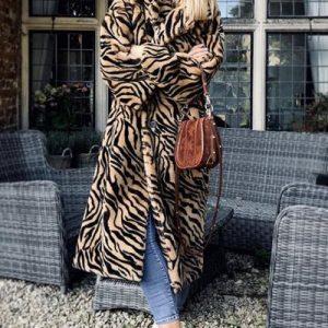 Faux fur hooded maxi coat