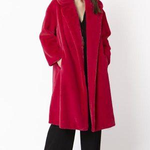 Faux fur coat/Fuschia