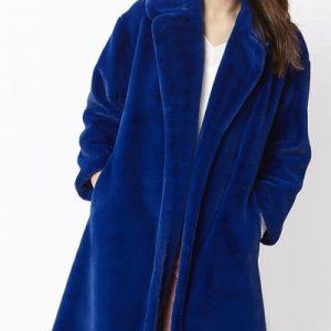 Faux fur coat/ Electric blue