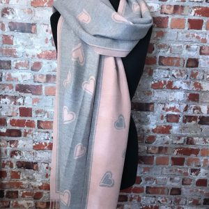 Reversible cashmere and silk wrap -Grey/pink
